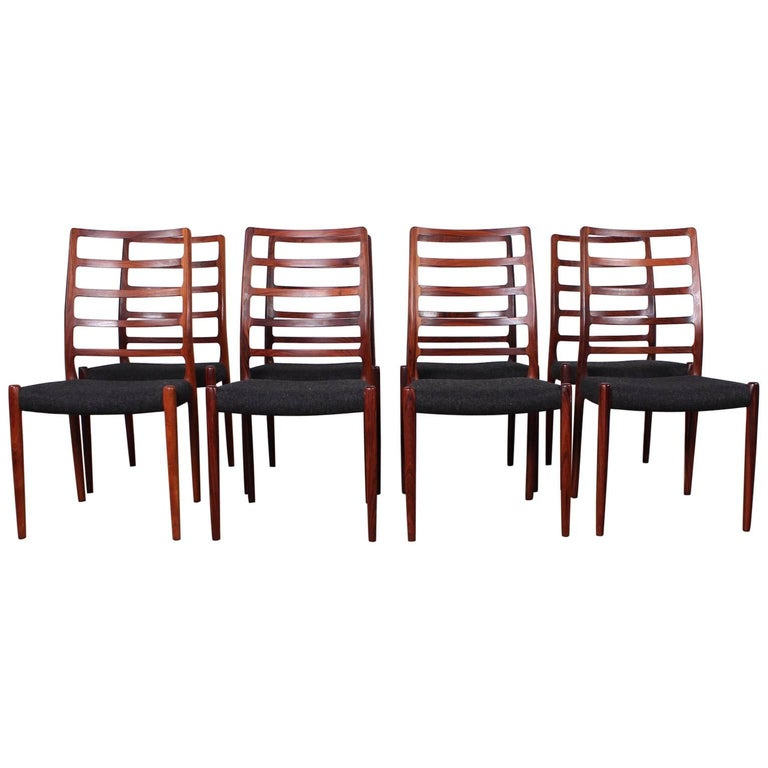 Set of Eight Rosewood Model 82 Dining Chairs by Niels Møller 1