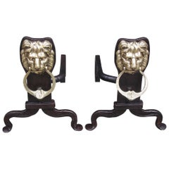 Pair of English Lion Brass & Wrought Iron Andirons with Penny Feet, Circa 1780