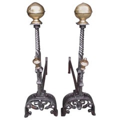 Pair of English Brass Ball Top and Wrought Iron Chased Andirons, Circa 1780
