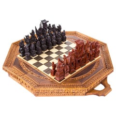 Carved Wooden Inlaid Hinged Folding Chess Set