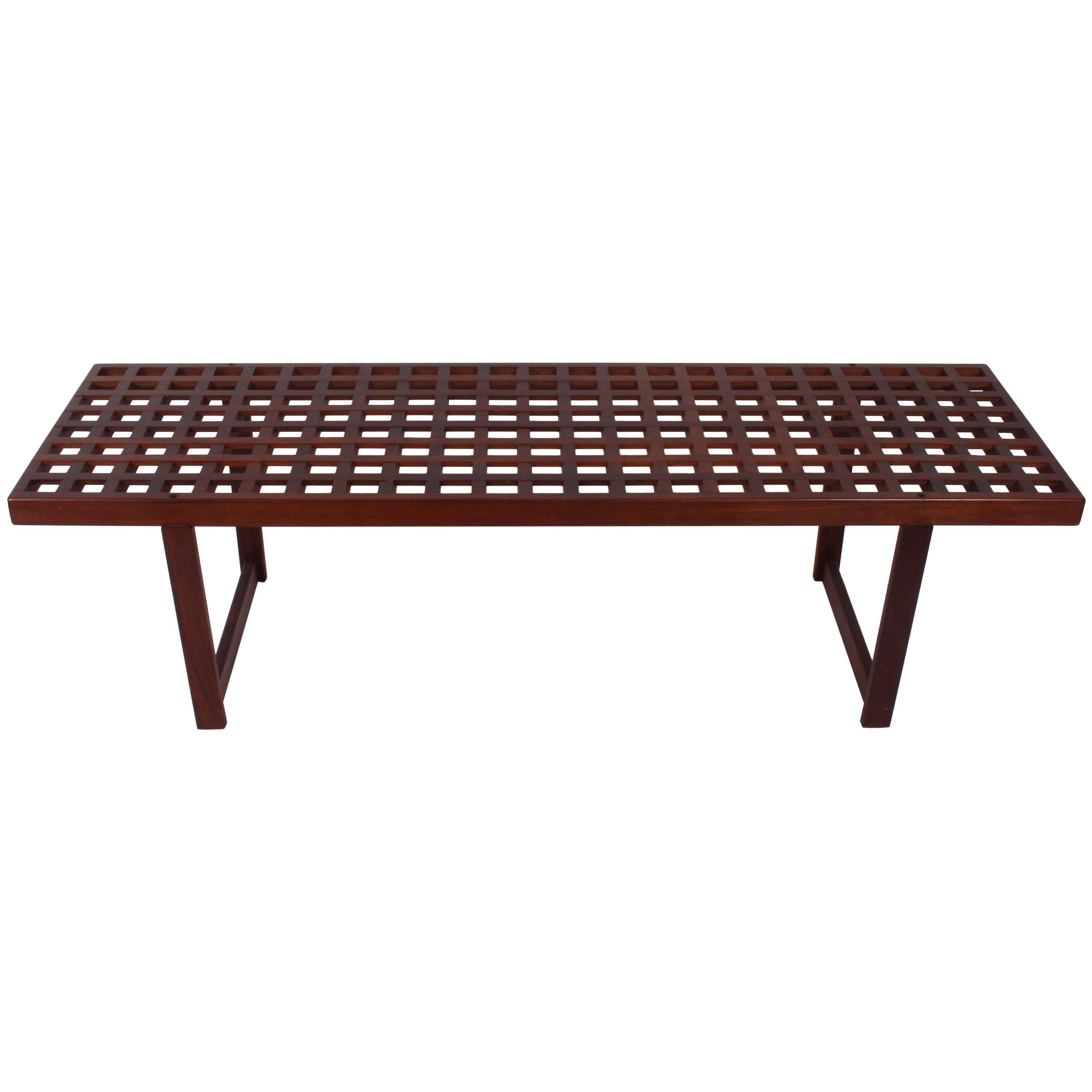 Elegant Peter Løvig Nielsen For Løvig Designs Dark Teak Lattice Coffee Table, C.  1960s For