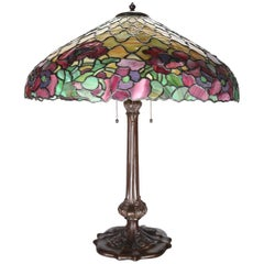 Antique Duffner and Kimberly Co. Mosaic Oriental Poppy Table Lamp, circa 1911