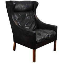Børge Mogensen Danish 1960s Leather Wingback Lounge Chair 2204