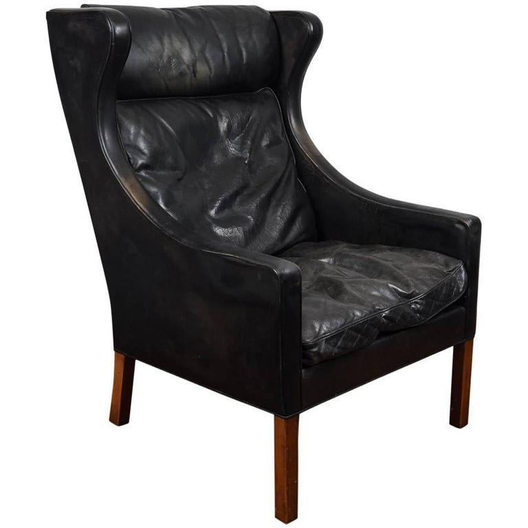 cigar chairs leather b 248 rge mogensen 1960s leather wingback lounge chair 2204