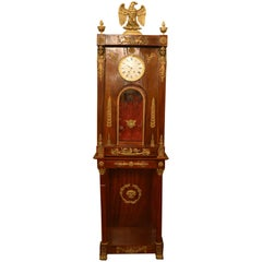 Antique 19th Century Empire Mahogany Tall Case Clock