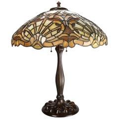 Antique Duffner & Kimberly Co. Art Nouveau Mosiac Glass Lamp, Shell Motif