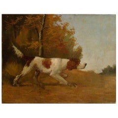 Early 20th Century French Painting of Hunting Dog on Canvas