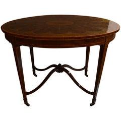 Antique English Mahogany Satinwood Inlaid Table