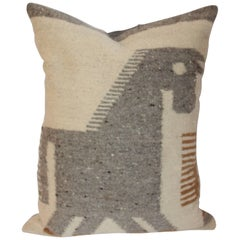 Early and Folky Horse Indian Weaving Pillow