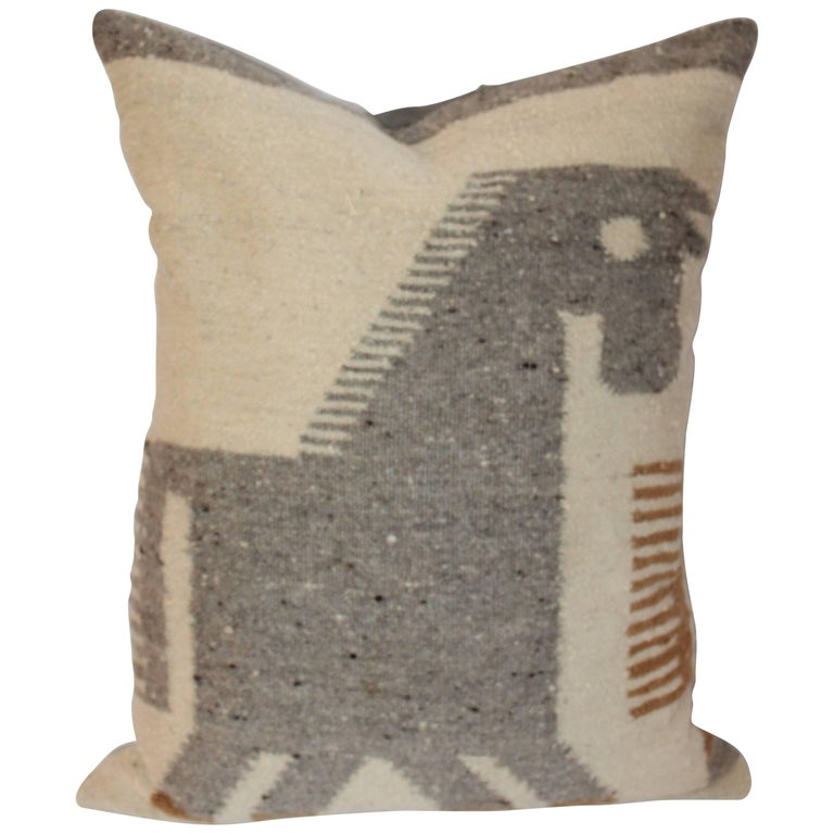 Early and Folky Horse Indian Weaving Pillow 1