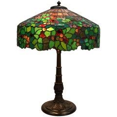 Antique Duffner & Kimberly Art Nouveau Mosaic Table Lamp, Grape & Leaf