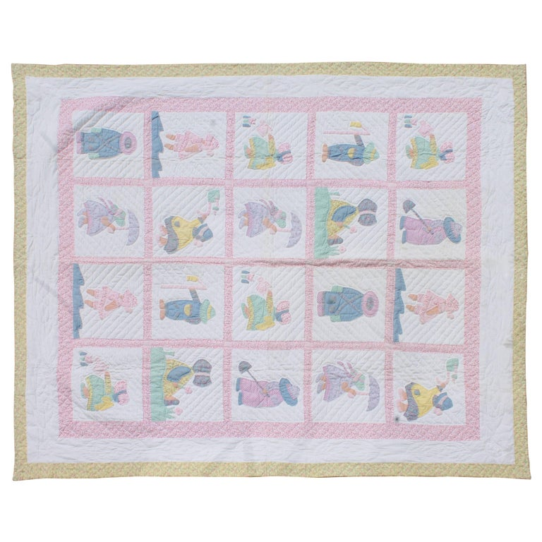 1940s Overall Sam & Sue Applique Quilt For Sale