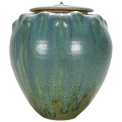 Arts and Crafts Drip Glaze Art Pottery Covered Jar Signed Paul, 20th Century
