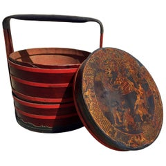 Chinese Antique Bamboo Basket with Painted Lid