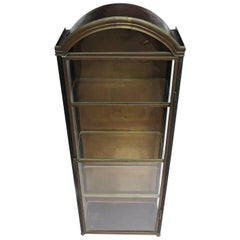 Italian Wall Mounted Display Cabinet in Painted Tin, Brass, and Glass