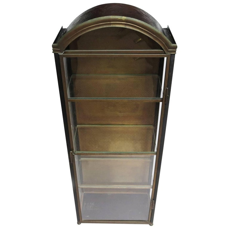 Italian Wall Mounted Display Cabinet in Painted Tin, Brass, and Glass 1