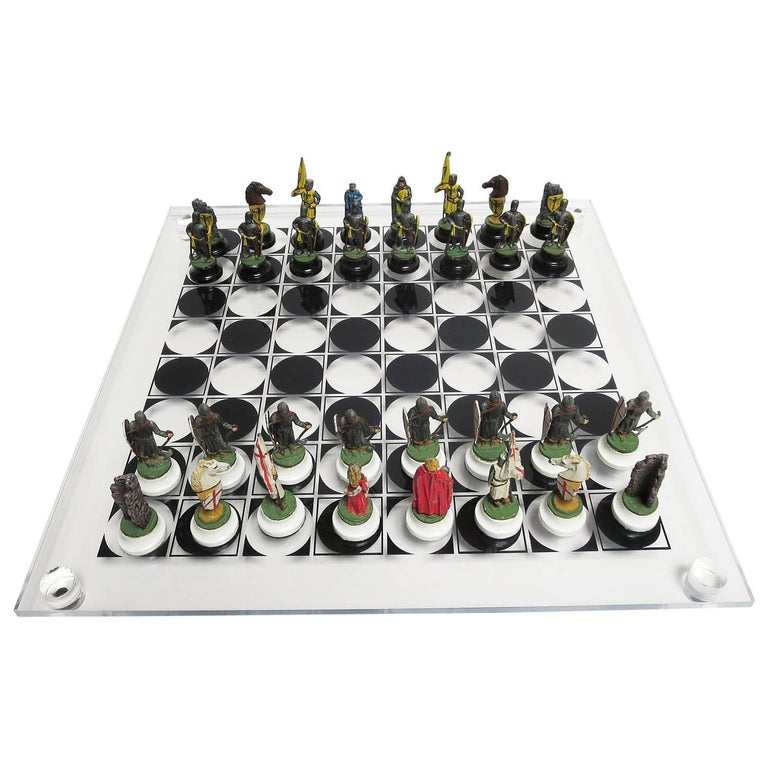 Chess Set with Painted Lead Medieval Figures on Lucite Board 1