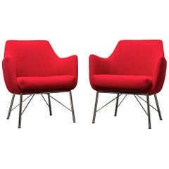 Pair of Red Ekselius Lounge Chairs for Pastoe