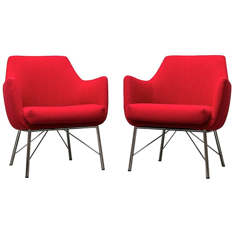 Pair of Red Ekelius Lounge Chairs for Pastoe 1