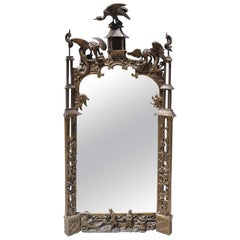Finely Carved Chinoiserie Pagoda Wall Mirror with Dragons