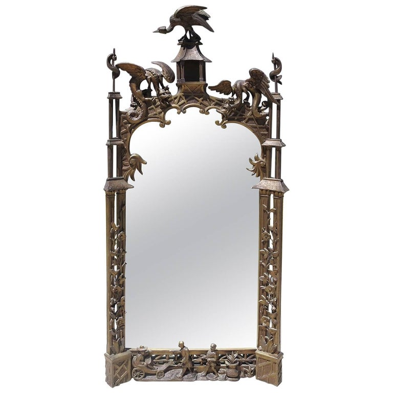 Finely Carved Chinoiserie Pagoda Wall Mirror with Dragons 1