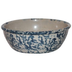 19th Century Sponge Ware Pottery Serving Bowl