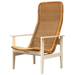 Dirk Van Sliedregt High Back Rattan Lounge Chair with White Frame