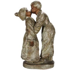 Antique Chinese Figural Bronzed Terracotta Statue, Young Love, circa 1920