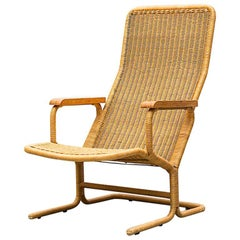 Dirk Van Sliedregt Rattan Lounge Chair with Wood Arms