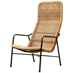 Dirk Van Sliedregt High Back Bamboo Arm Chair with Black Frame