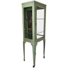 Classic 1920s Metal and Glass Specimen Cabinet, Medical, Industrial