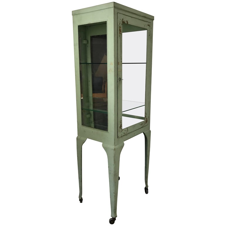 Classic 1920s Metal and Glass Specimen Cabinet, Medical, Industrial For Sale