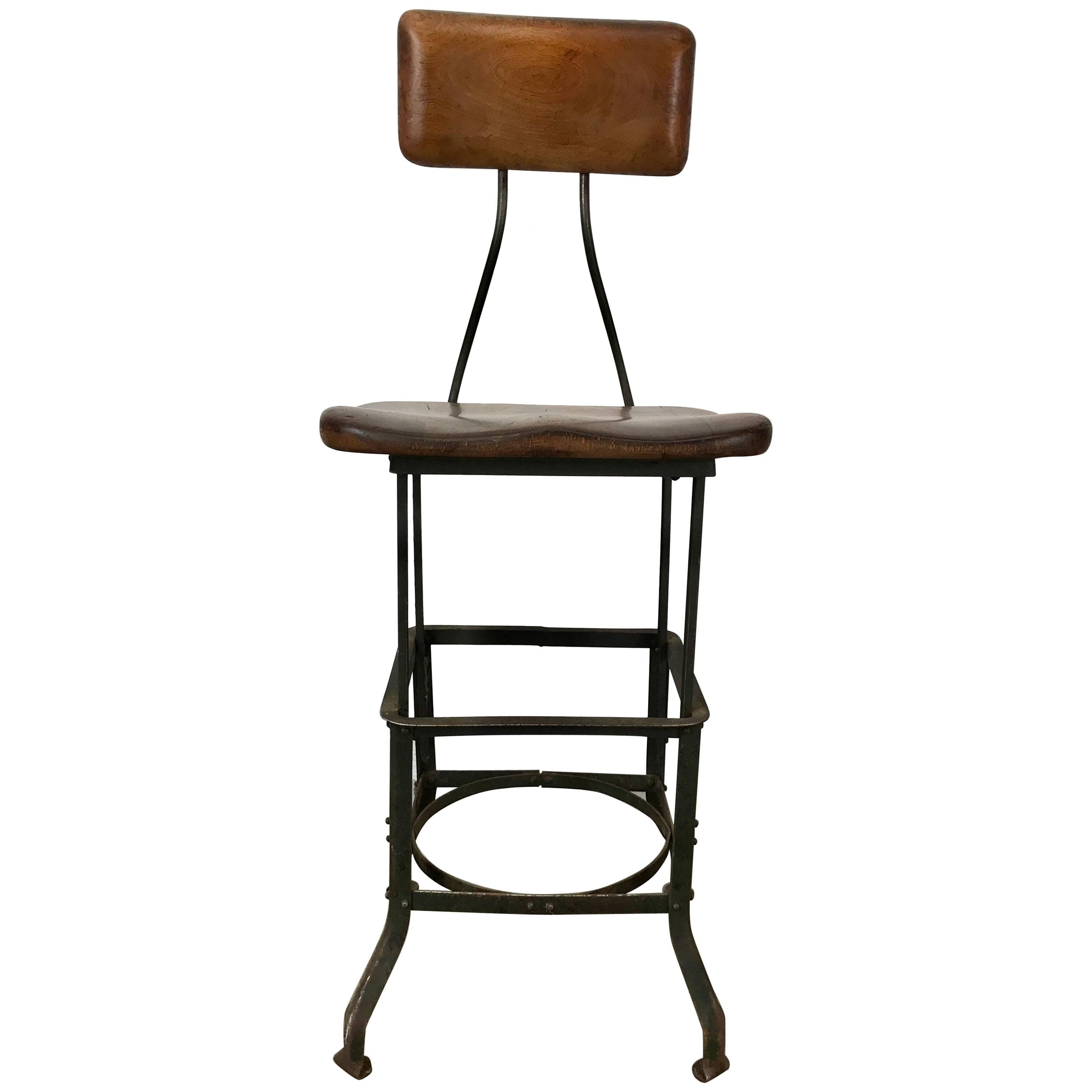 Early Adjustable Industrial Machinist Stool, Manufactured by Toledo