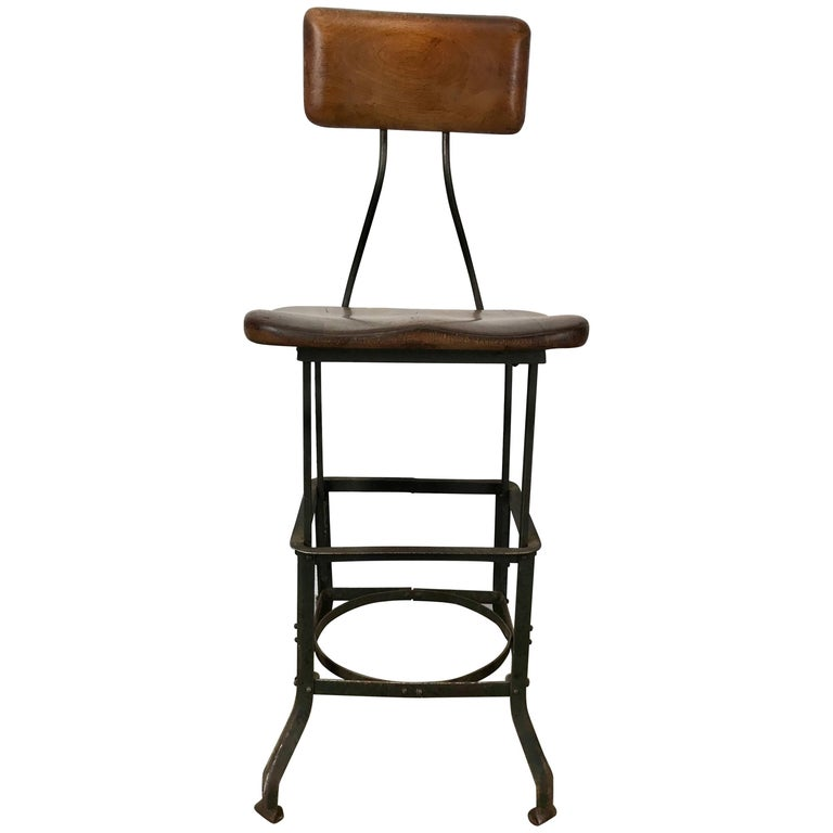 Early Adjustable Industrial Machinist Stool, Manufactured by Toledo For Sale