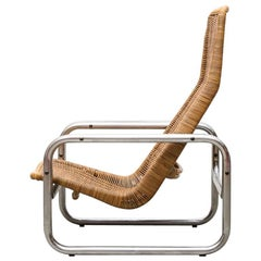 Rare Dirk Van Sliedregt Rattan and Chrome Lounge Chair