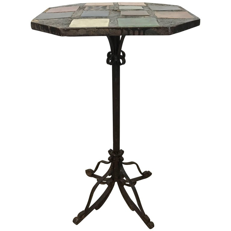 Stunning Arts and Crafts Iron and Tile-Top Stand or Table, Italy For Sale