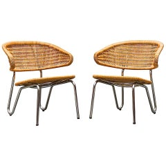 Rare Pair of Dirk Van Sliedregt Rattan Low Lounge Chairs
