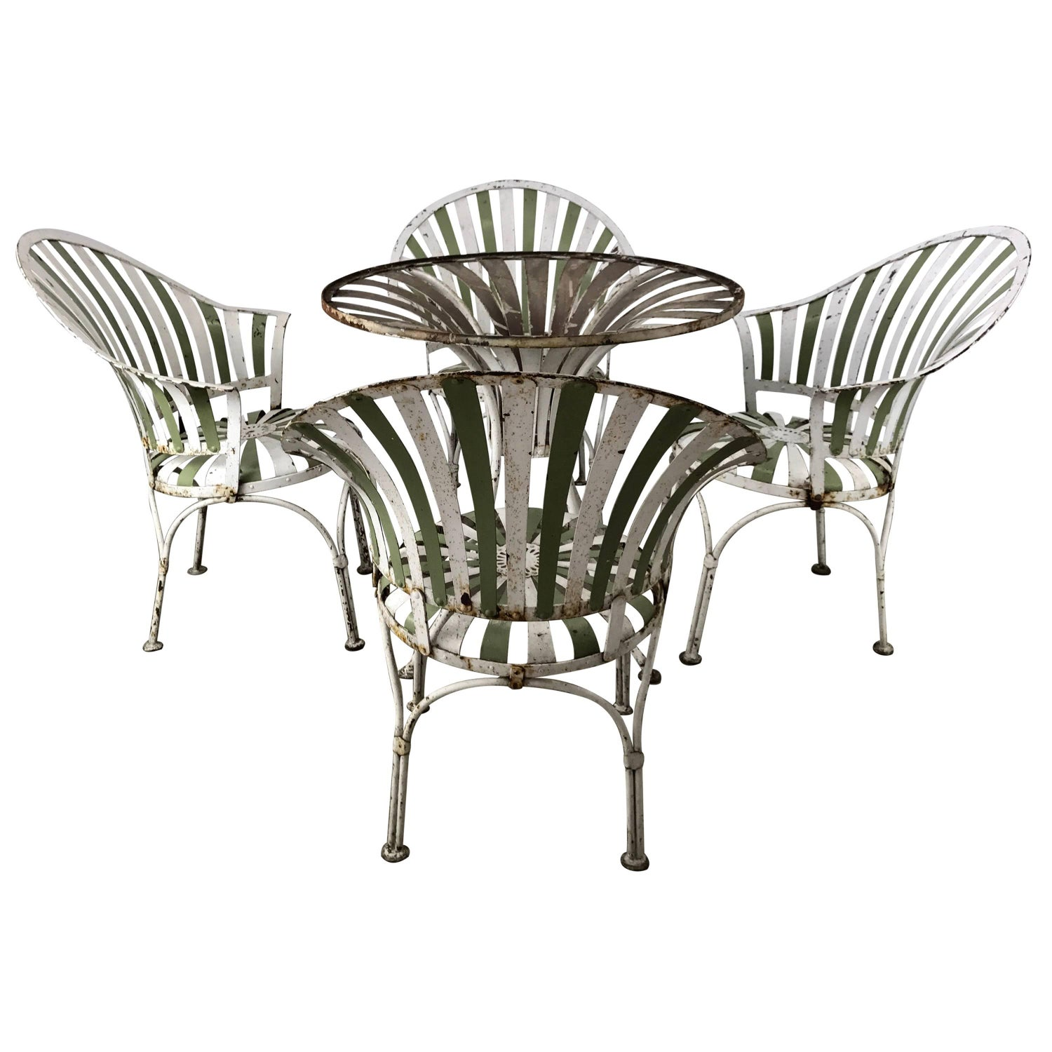 Set of Green Wrought Iron Scroll Back Garden Chairs For Sale at
