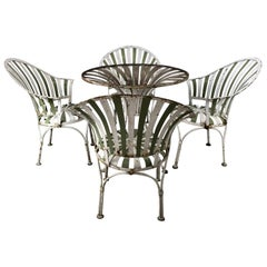 1930s Art Deco Metal Fan Back Garden Set, Table and Chairs by Francois Carre