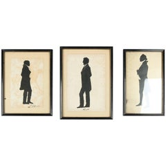 Three Framed Presidential Silhouettes of Washington, Jefferson & Lincoln