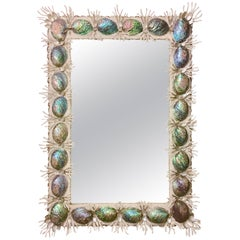 21st Century Contemporary Monumental Shell & Coral Encrusted Mirror