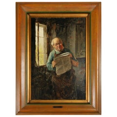 "Antique Oil on Board Painting ""Blacksmith"" by R. Alvin, 19th Century"