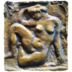 "Aristide Maillol, French Art Nouveau Bronze High Relief ""Nude"", circa 1900"