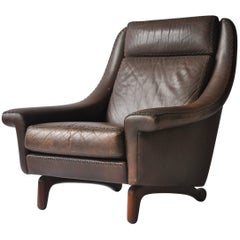 Aage Christiansen High Back Danish Leather Lounge Chair