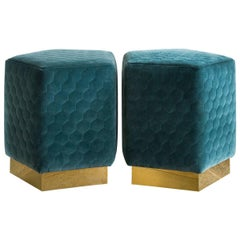 Ermes Pentagon Pouf in Quilted Velvets and Brass or Steel Powder-Coated Plinth