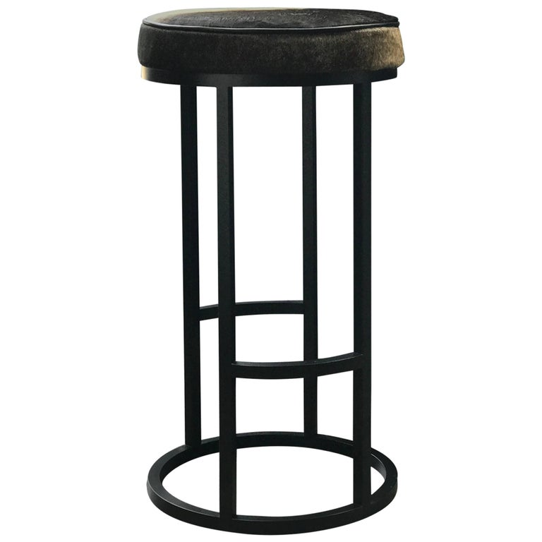 Diana Bar Stool Circular in Steel Powder-Coated and Leather