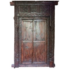 19th Century Antique Indian Ornately Carved Wood Entrance Door and Frame