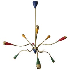 Colorful Mid-Century Italian Chandelier