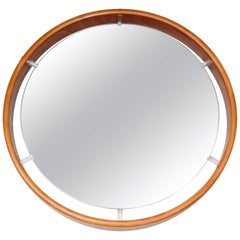 1970s Stunning Large Illuminated Rosewood and Lucite Round Hanging Wall Mirror