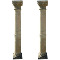 Rare Pair of Finely Hand-Sculpted Stone Columns, France
